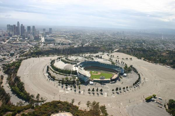 Dodger Stadium and Downtown LA by helicopter