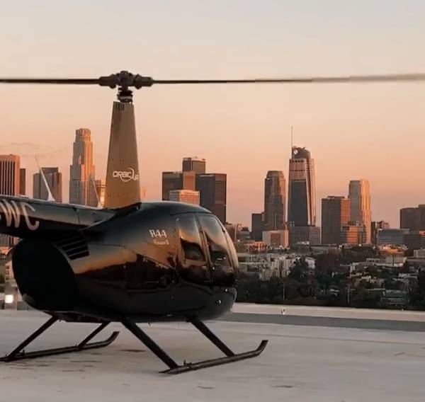 Sunset downtown Los Angeles helicopter rooftop