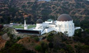 Griffith Park Observatory helicopter view