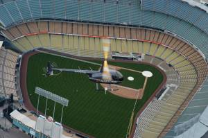R44 helicopter over Dodger Stadium