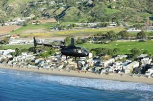 Helicopter over Malibu Coastline