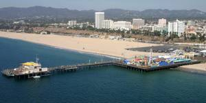 Santa Monica Pier helicopter view.