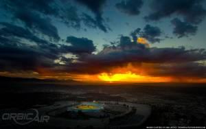 Dodger Stadium Sunset aerial